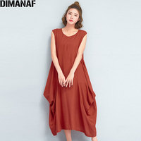 DIMANAF Women Dress Sleeveless Sundress Plus Size Solid Loose Linen Summer Female Vintage Vestido Casual Elegant