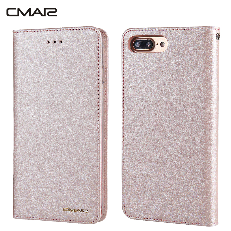 buy popular 9df48 731aa US $4.99 |CMAI2 Luxury Leather Silicone Flip Stand Case for iPhone 8 Plus  Magnetic Wallet Silk Case Cover Coque Capinha for iPhone8 8Plus-in Wallet  ...