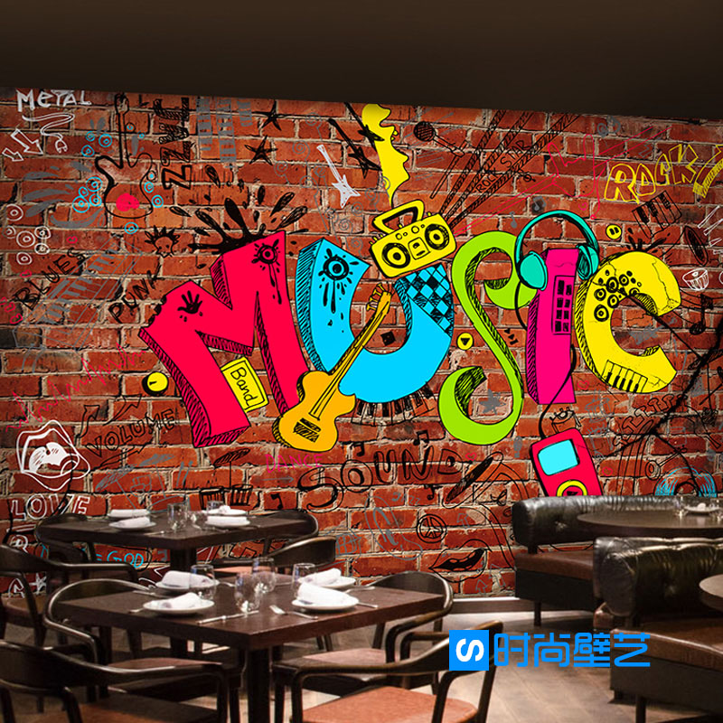 Us 9 5 50 Off Photo Wallpaper 3d European Style Creative Art Music Graffiti Imitation Brick Wallpaper Bar Music Studio Wallpaper Mural In Wallpapers