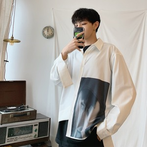 Image 4 - 2019 koreański styl mężczyźni Ulzzang świeże Temperament młodzieży Indie wyskakuje luźna koszula na co dzień