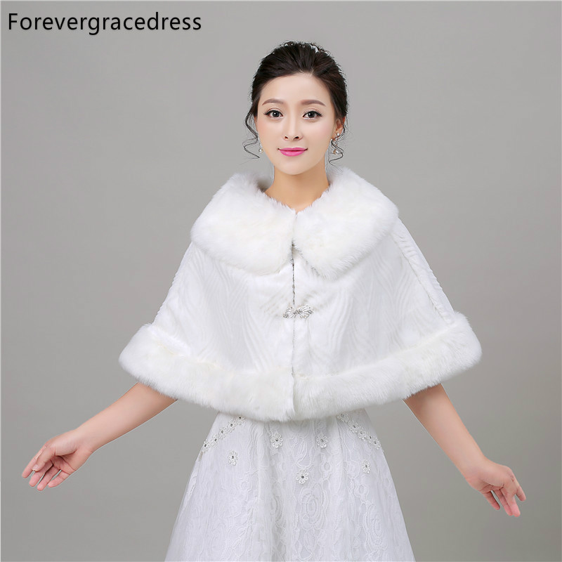 Forevergracedress 2018 Real Photos Winter Faux Fur Wedding Wrap Bolero Jackets Bridal Coat Cape Cloak Shawls Scarves In Stock