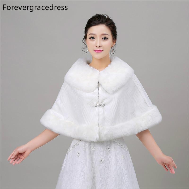 Forevergracedress 2018 Real Photos Winter Faux Fur Wedding Wrap Bolero Jackets Bridal Coat Cape Cloak Shawls Scarves In Stock