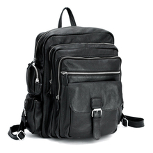 Опт, розничная, модный, с несколькими карманами, мужской, черный, Воловья кожа, настоящий кожаный рюкзак для путешествий, сумка, вещевая сумка для багажа, сумка M154
