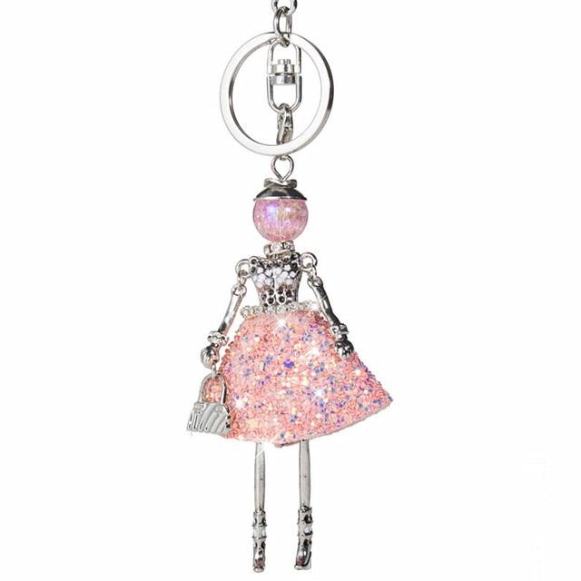 d50c31410671 HOCOLE Fashion Crystal Keychains New Cute Doll Rhinestone Key ring   key  chain Bag Charms Car Pendant For Women Handbag keyrings
