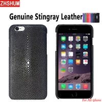 Handmade Genuine Stingray Leather Case For Iphone X 8 7 6S Plus XS MAX XR Luxury Customize Skin Case Back Cover for Iphone 6 SE