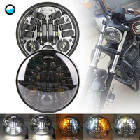 5 3/4 5.75 inch led projector Daymaker headlight White DRL Yellow Turn signal lights For Yamaha V Star XVS 250 650 950 1100 1300