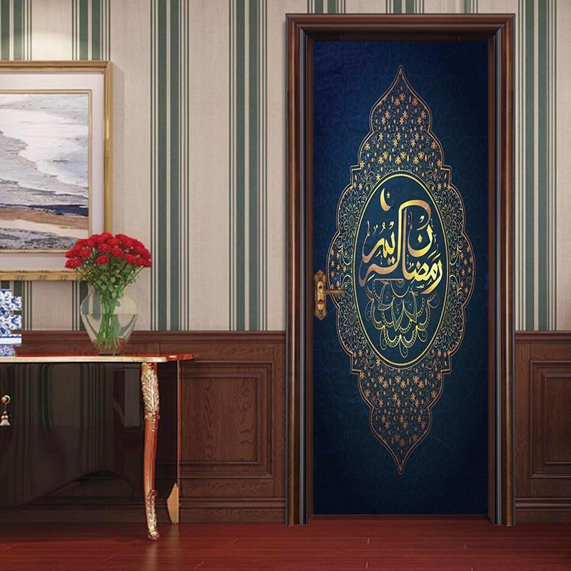 New Arrival Islamic patterns door Pvc Poster decal Window vinyl sticker Allah self-adhesive wallpaper Bedroom Home Decor