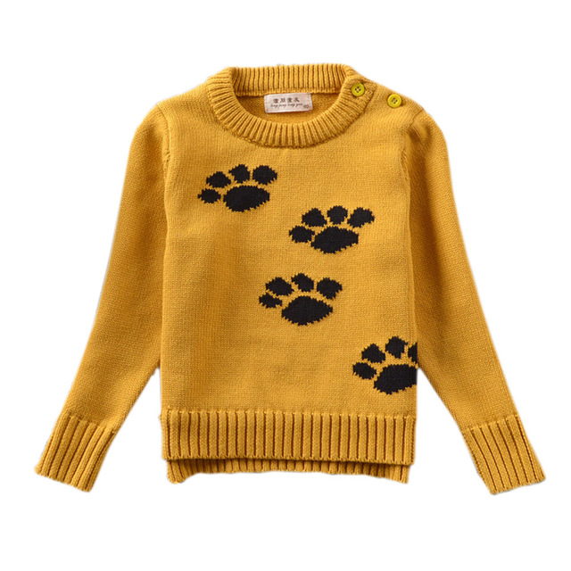 Baby Boy Girl Knitwear Clothes Stylish Yellow Long Sleeve Crew Neck Cute Puppy Dog's Paws Pullover Jumper Jersey YM07MY