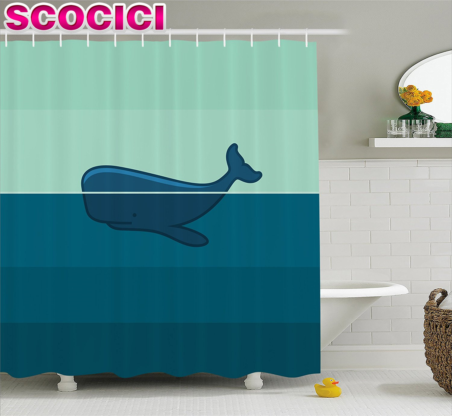 Whale Decor Shower Curtain Big Blue Whale Half Of It Swimming On The Top Of The Ocean Image Fabric Bathroom Decor Set Light Blue