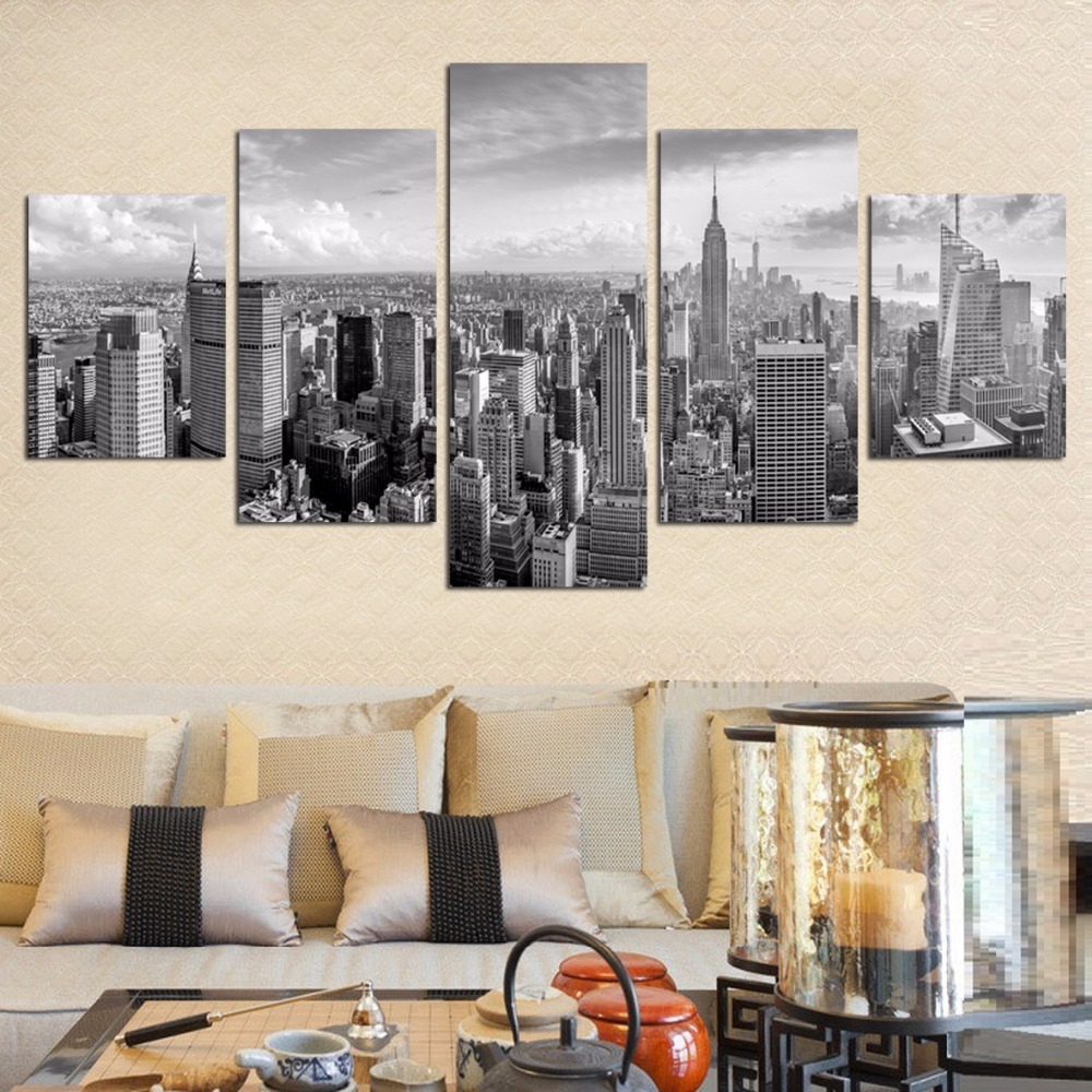 No Framed 5 Pieces Abstract Decorative Wall Modular Picturess