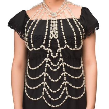 Новая мода Бохо имитация жемчуга массивные Цепочки Кулон платье ювелирные изделия жемчуг бусы жгут тела цепь свадебные ювелирные изделия