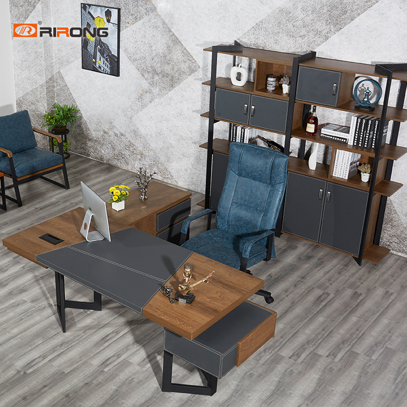 2 Meter Wooden Leather Work Office Furniture Executive Manager Home Study Grey Office Computer Desk Table Set