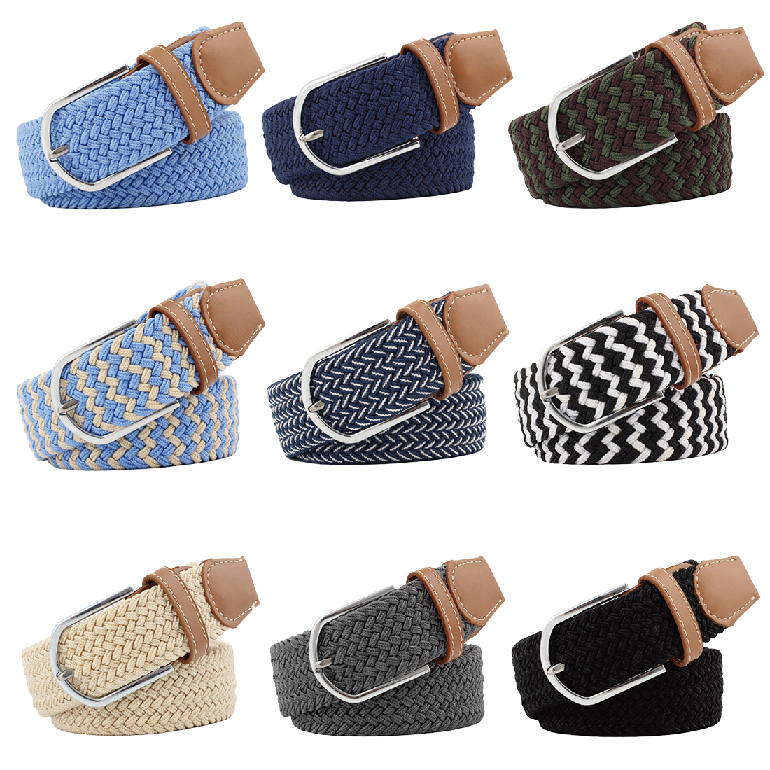 Hot Sell Elastic Fabric Braided Belts for Male & Female Candy Colors New Style Belt Accessories Waist Belts