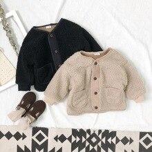 Новые зимние шерстяные пальто для мальчиков и девочек модные однобортные однотонные детские пальто кремового и черного цвета Верхняя одежда для детей от 1 года до 5 лет