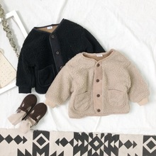 New Boys Girls Winter Wool Coats Baby Fashion Single Breaste