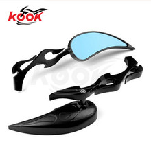 black retro motorcycle rearview mirror for Harley Davidson mirrors motorbike rear view mirror fire model style 10mm 8mm universa