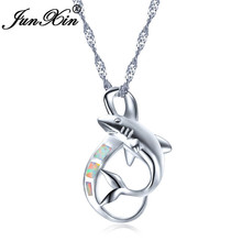 Buy shark necklace and get free shipping on aliexpress junxin whiteblue fire opal pendants necklaces for women aloadofball Choice Image