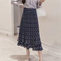 2018 גבוהים מותניים בציר האופנה קיץ חצאיות נשים פרחוני קפלי קפלים חצאית ארוכה גברת אלגנטית שתי שכבות עוגת שיפון Saia