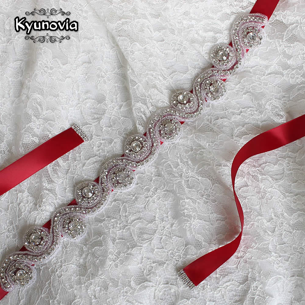 Kyunovia crystal wedding belt bridal sash rhinestone sash for Wedding dress sashes with crystals