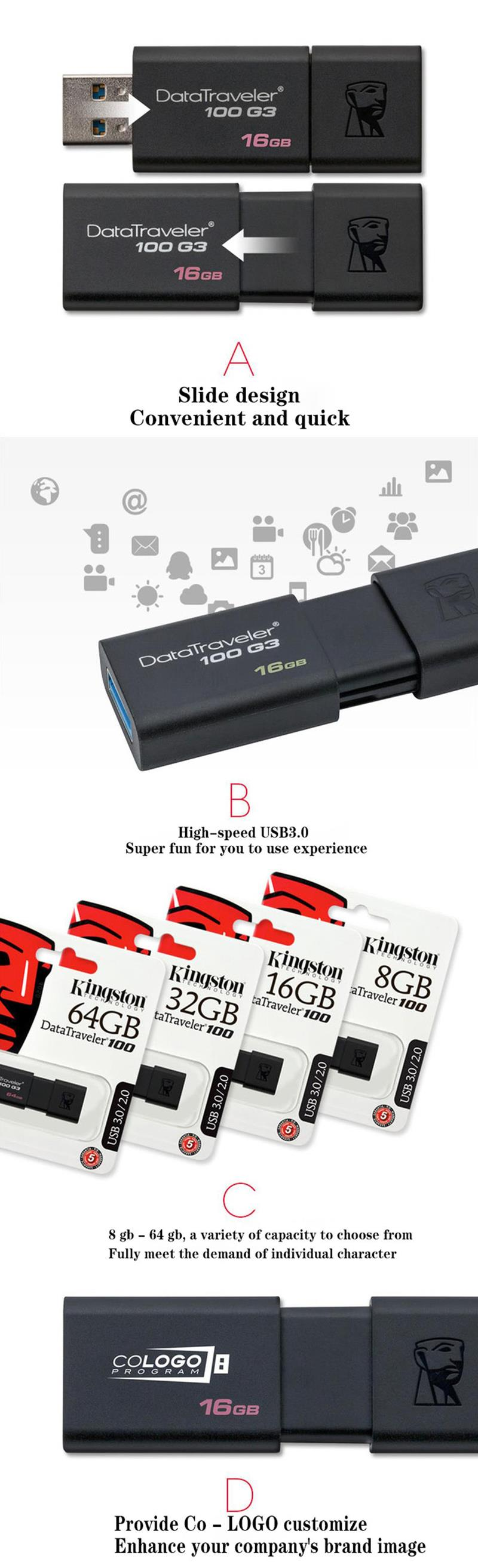 Kingston Usb 30 Flash Pen Drive Pendrive Stick 16gb 32gb 64gb 128gb Flashdisk 16 Gb Datatraveler 100 G3 8gb And