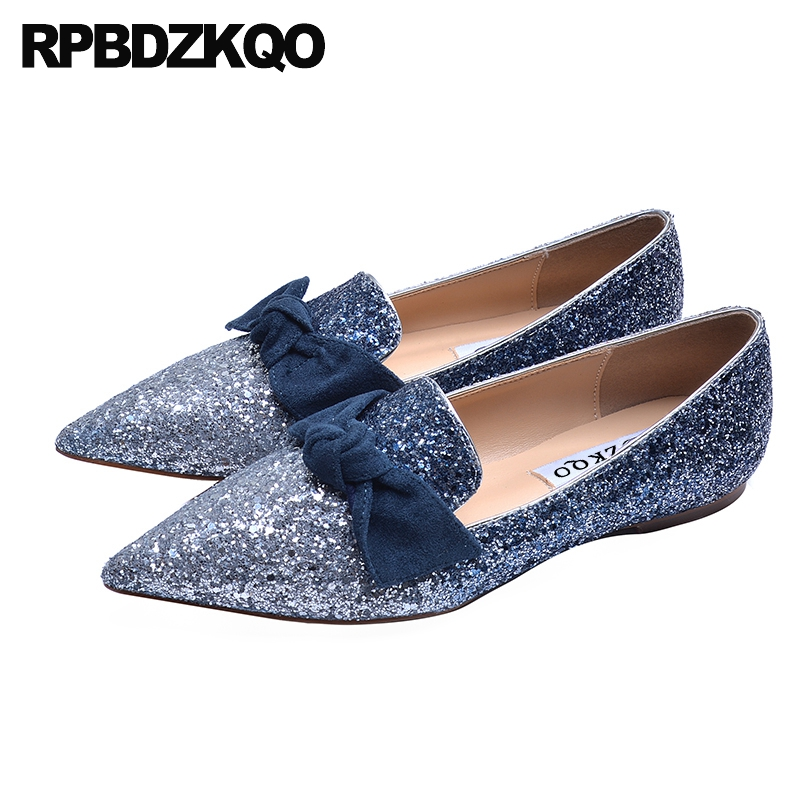 pointed toe blue party designer women flats pink ballerina bow autumn spring bling sequins single shoes ballet glitter sparkling