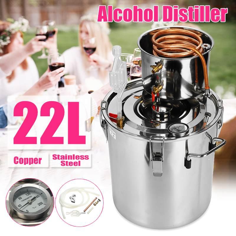 20L Inoxidável Álcool Destilador Luar Cobre DIY Kit de Cerveja Vinho Óleo Essencial de Água Em Casa