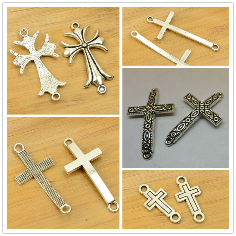 two/2 holes cross shape alloy connective DIY charm Christmas pendant jewerly accessories ...