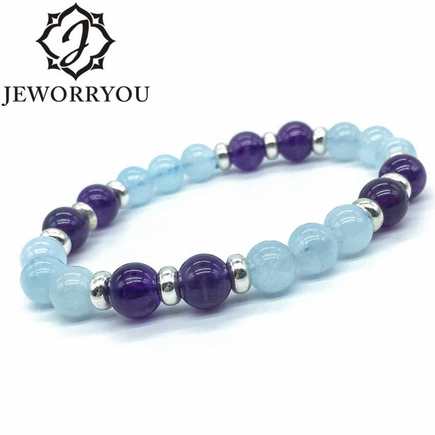 8mm Natural Aquamarine Bead Bracelet Women 925 Silver Charms Citrine Beads Bracelet Ladies Amethyst Natural Stone Bracelet Femme