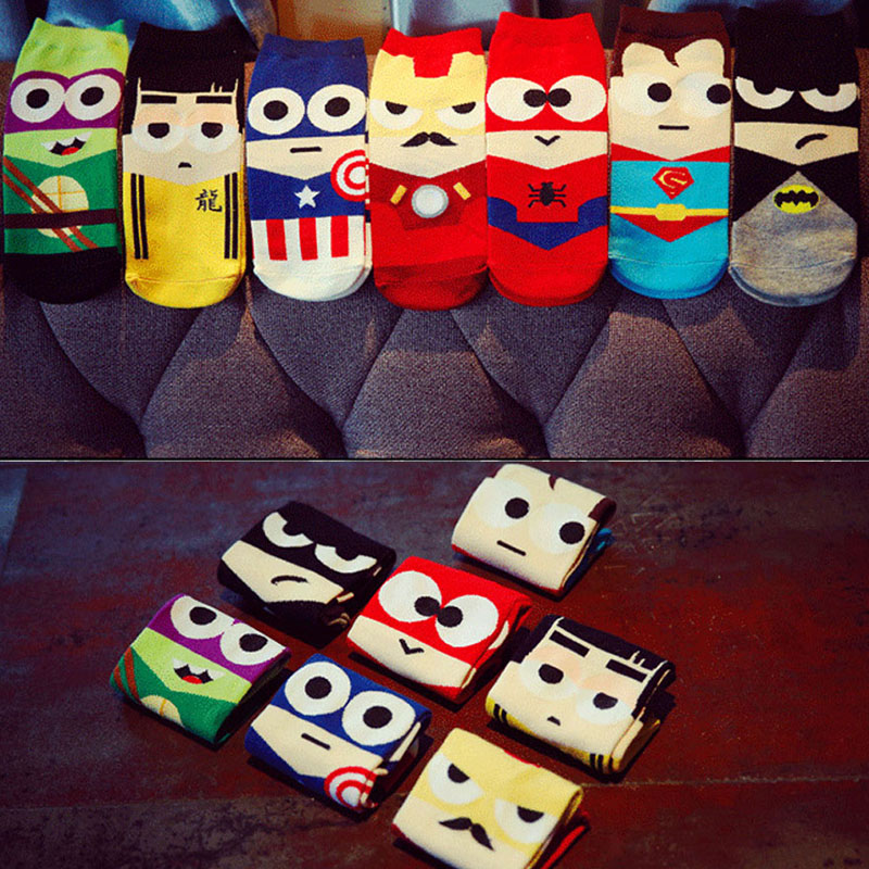 Size 36-43 Man Harajuku Socks Ninja Batman Superman SpiderMan Captain America socks Avengers Short Novelty Kawaii socks cotton