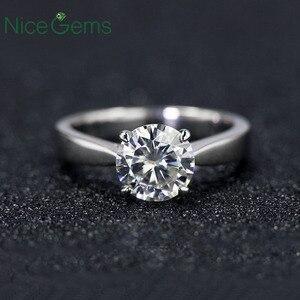 Image 1 - NiceGems Classic Moissanite Solitaire anillo de compromiso para mujer, 1ct, 2ct, 3ct, 4ct, Color F, oro blanco de 14K, anillo de moissanita