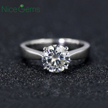 NiceGems Classsic Moissanite Solitaire Engagement Ring Center 1ct 2ct 3ct 4ct F Color 14K White Gold Moissanite Ring For Women