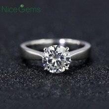 Nicegemas classsic moissanite solitaire anel de noivado centro 1ct 2ct 3ct 4ct f cor 14 k ouro branco anel de moissanite para mulher
