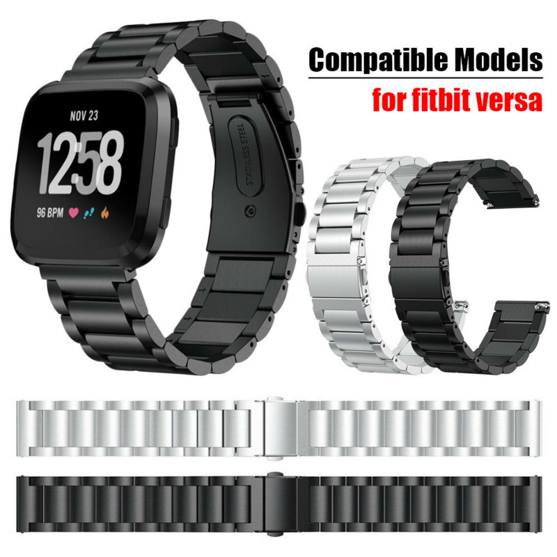 New Stainless Steel Three Bead Chain Smart Watch Strap Band For Fitbit Versa Smart Watch Replacement Wrist Band