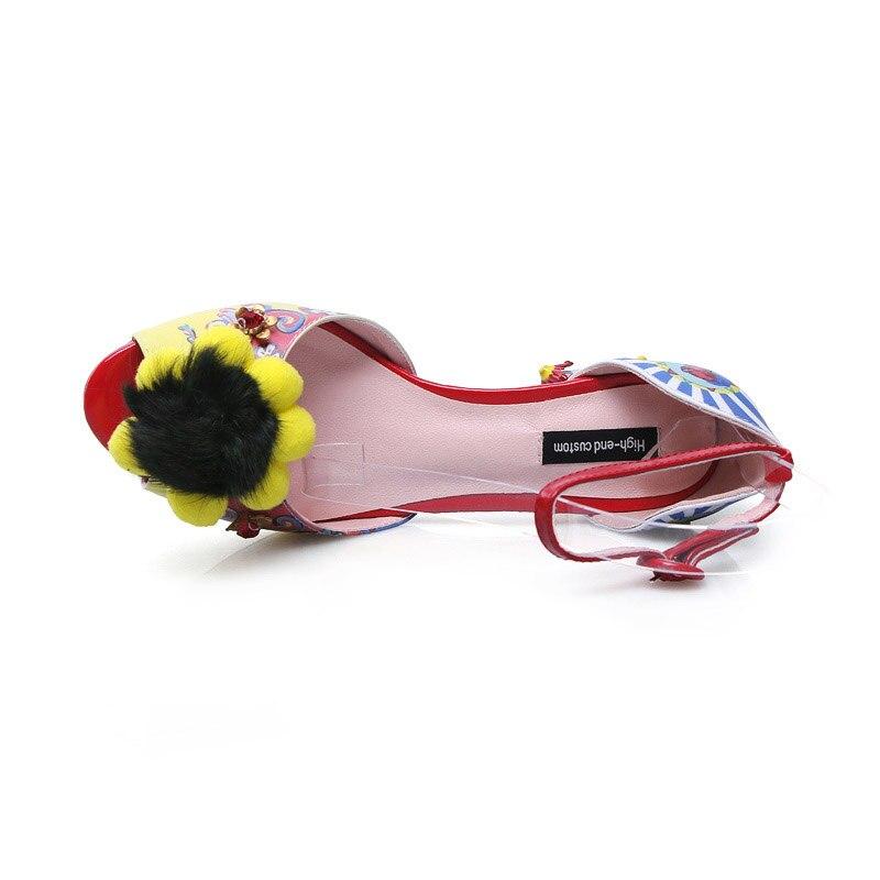 La Cover Estampado Extraña Bombas Correa Piel Toe Fiesta Mujer Con Tobillo Hebilla De Toe Tacones Zapatos Novedad Flores Phoentin Black yellow Ft269 SUWnqFtw