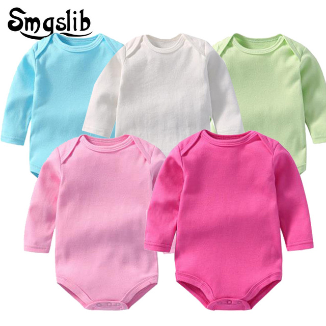 5pcs/ lot new born baby boy clothes sets tiny cottons Baby rompers jumpsuit baby girl Long Sleeves winter Novelty toddler romper