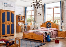 DS-803# All solidwood American nobility style wooden children bedroom furniture set with bed wardrobe desk nightstand bedside