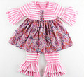2017 Smocked Girls Toddler Boutique Summer Clothing Set Pink Striped Kids Clothes  Ruffle Girls Top and Pants set