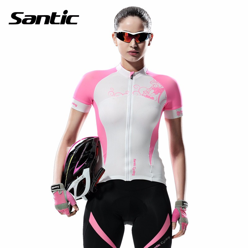 Santic 2017 Women Breathable Cycling Jersey Short Sleeve Breathable Bicycle Sportswear Pink White Summer MTB Bike Shirt Clothing veobike men long sleeves hooded waterproof windbreak sunscreen outdoor sport raincoat bike jersey bicycle cycling jacket