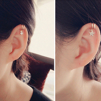 10 Styles Star Heart Silver Gold Crystal Clip Earring for Women Lovely Girl Non Piercing Ear Cartilage Clip Wholesale золотые серьги по уху