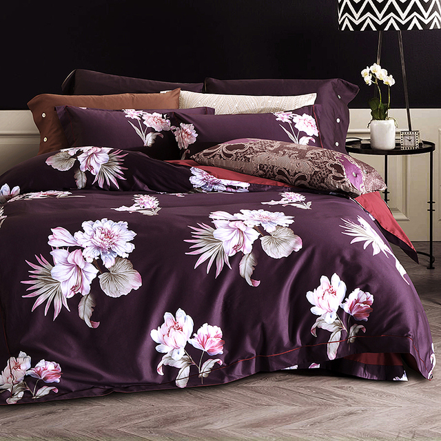 High Count Density PIMA Cotton Luxury Bedding Set Soft Silky Queen King  Size 4pcs Duvet Cover