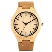 Деревянные часы для мужчин новая мода полосатый кофе ромб Циферблат Аналоговые часы пояса из натуральной кожи часы человек кварцевые…