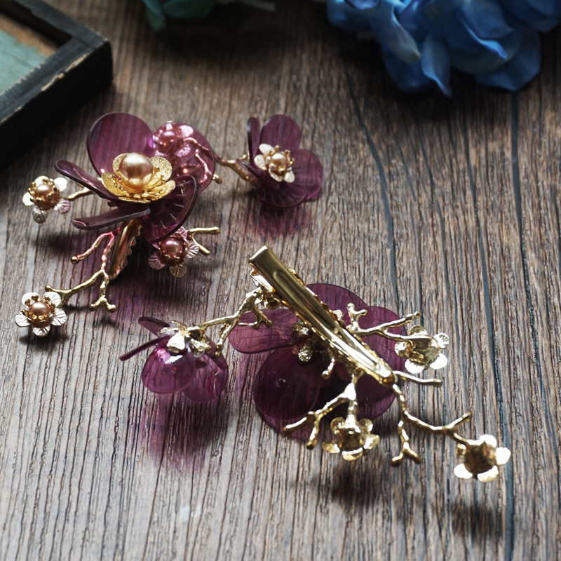 3pieces/lot Korean flower small fresh golden hairgrip purple red bride wedding hair jewelry hair clip hair ornament for women 00009 red gold bride wedding hair tiaras ancient chinese empress hair piece