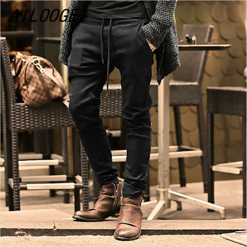 AILOOGE Mens Jeans Stretch coffee Denim Mens Skinny Jeans Slim Fit Jeans 2017 New Arrival High Quality Solid Casual Pants