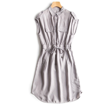 Women's 2017 summer cupro solid shirt dress