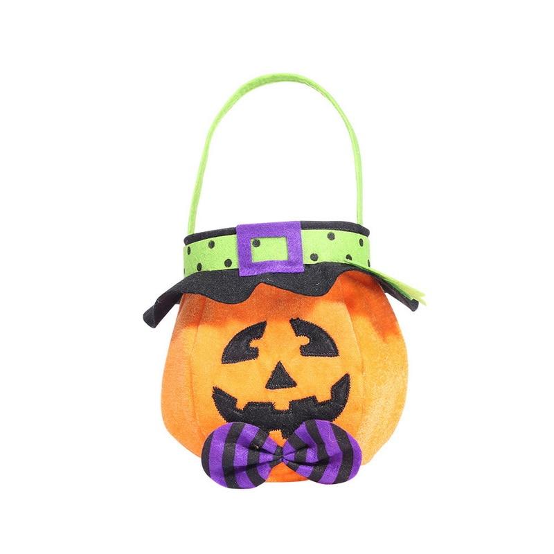 Tote Basket Pumpkin Halloween-Trick Witch Candy-Bag Funny Treat Cartoon Cat-Bat Or Kids