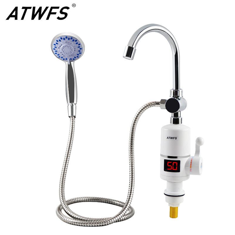 ATWFS Electric Fast Instant Water Heater Tap Shower Bathroom Heaters Instant Hot Water Faucet Heating With