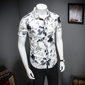 M-5XL Chinese Style 2017 Gray Floral Short Sleeve Men Shirt Mens Dress Shirts Male Clothes Social Casual Shirt Men Brand  CD335