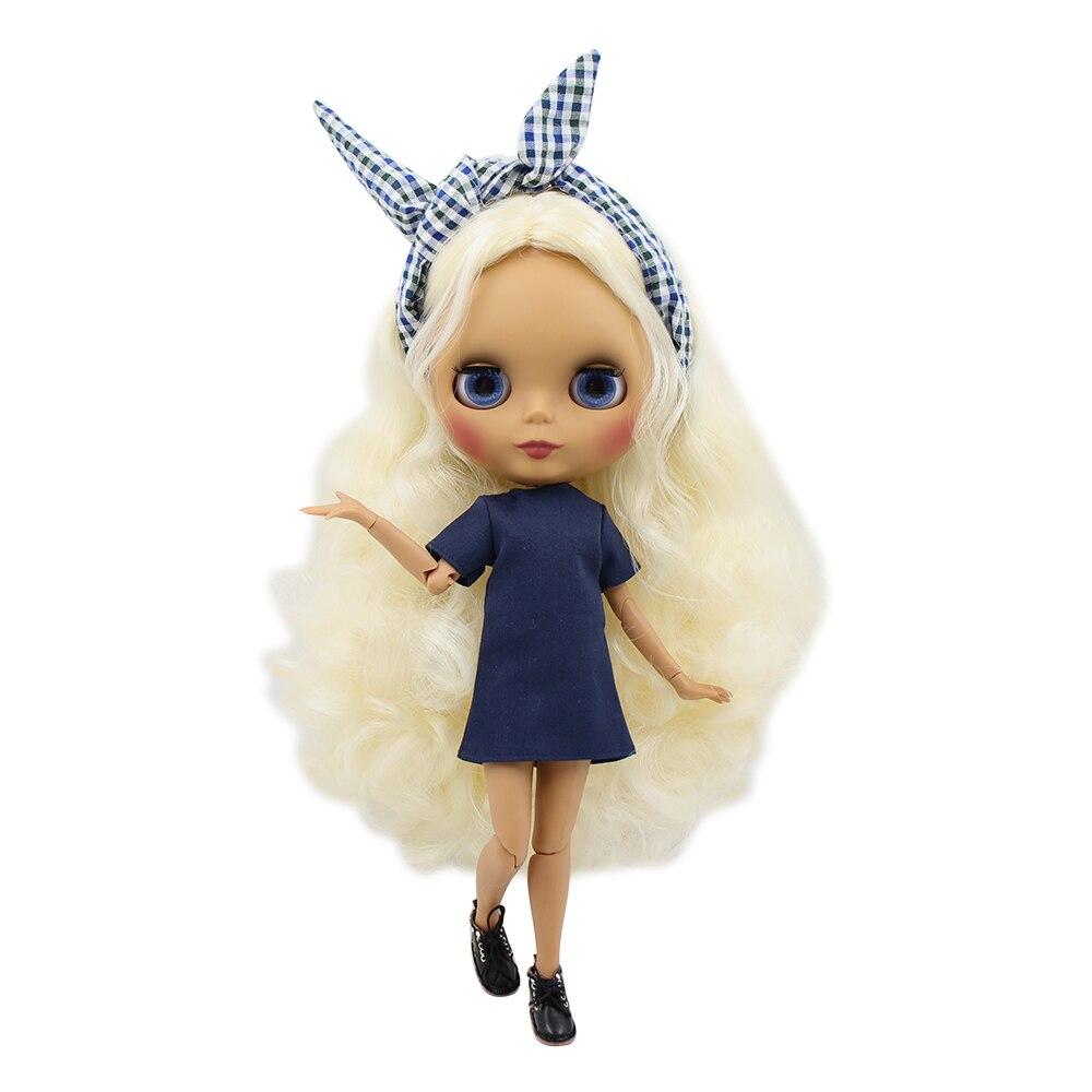 Blyth doll 30cm ciemna skóra matowa twarz dzikie światła złoty długie kręcone włosy 1/6 wspólne ciało ICY SD DIY wysokiej jakości zabawki prezent w Lalki od Zabawki i hobby na  Grupa 1