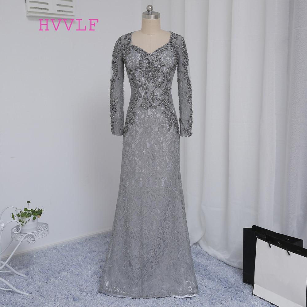 2018 Anne Gelin Elbise Mermaid V Yaka Uzun Kollu Gümüş Dantel Boncuklu Anne Elbise Abiye Düğün Için