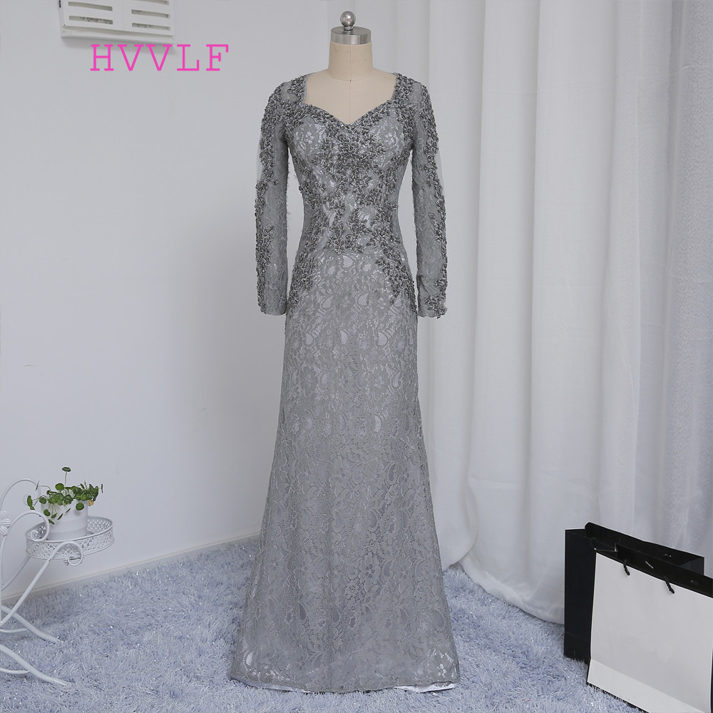 2019 Mother Of The Bride Dresses Mermaid V neck Long Sleeves Silver Lace Beaded Mother Dresses Evening Dresses For Weddings